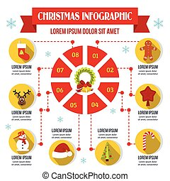 Christmas infographic concept, flat style