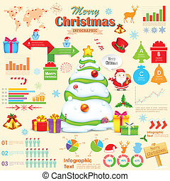 illustration of Christmas infographic with holiday object