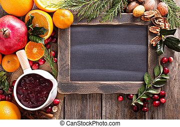 Christmas ingredients chalkboard frame - Christmas...