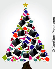Retro instant photo frames Christmas Tree greeting card. Vector illustration layered for easy manipulation and custom coloring.