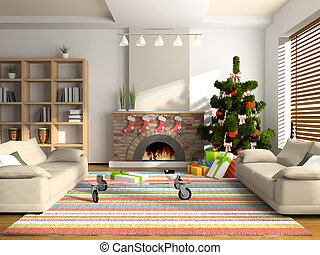 Christmas interior 3D rendering. You can hang your...