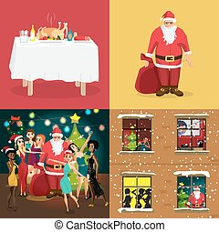 Christmas interior concept banners. Festive table, home party with Santa Claus. Vector flat cartoon illustration