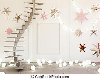 Christmas interior mockup 3d