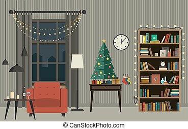 Christmas interior of living room.
