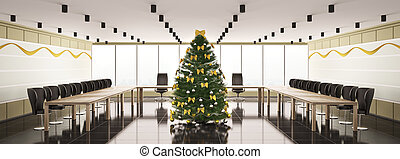 Christmas interior of modern boardroom panorama 3d