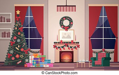 Christmas interior of the living room in a flat style. Evening New Year's scene for animation