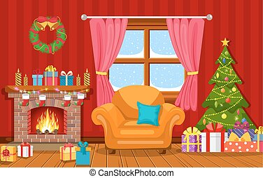 Christmas interior of the living room