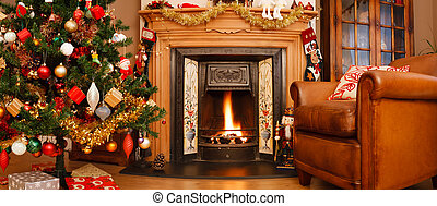 Christmas interior panorama - Christmas interior fire place...