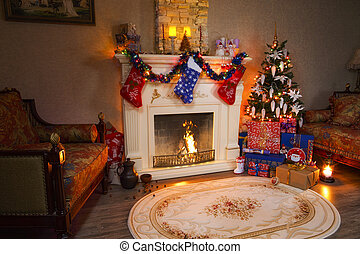 Christmas interior panorama - living room and decorated fireplace.