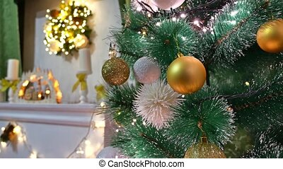Christmas interior tree and New Year toys blinking lights and fireplace room