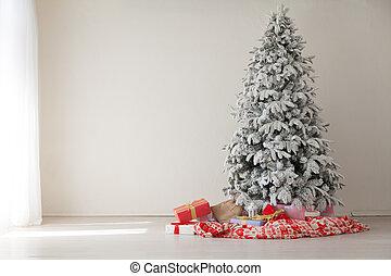 Christmas Interior White Christmas tree gifts new year