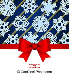 Christmas invitation card and menu with bow.