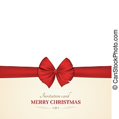 Christmas invitation card with a bow. Red ribbon. White background. Vector