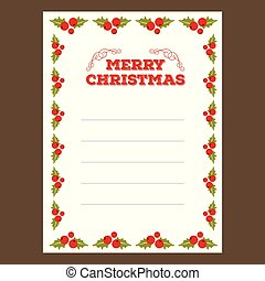 Christmas invitation card with cherries frame