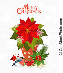 christmas invitation card with poinsettia in pot for your design