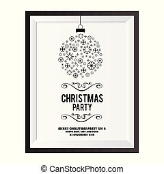 Christmas invitation card with snowflakes balls