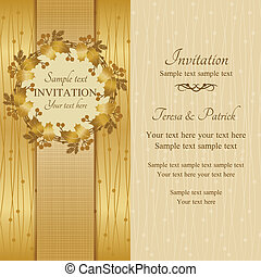 Christmas invitation, gold and beige - Christmas invitation ...