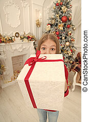 Christmas is time for giving. Happy new year. Winter. Christmas tree and presents. xmas online shopping. Family holiday. The morning before Xmas. Little girl. Child enjoy the holiday