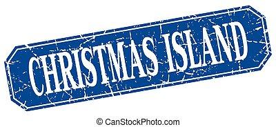 Christmas Island blue square grunge retro style sign