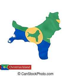Christmas Island map with waving flag of country.