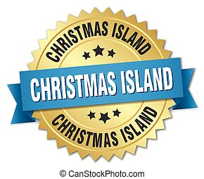 Christmas Island round golden badge with blue ribbon