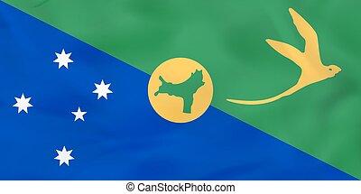 Christmas Island waving flag. Christmas Island national flag background texture.
