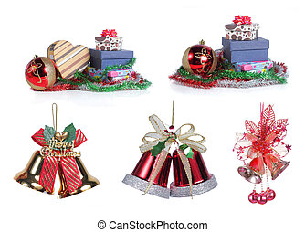 christmas item isolated on white background. each one shot...