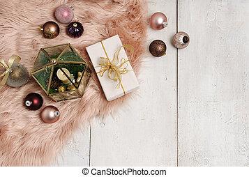 christmas items arrangement on wooden background