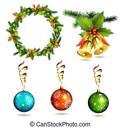 Christmas items, balls, frame pine and bells