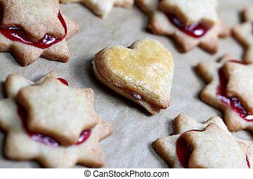 christmas jam heart cookie