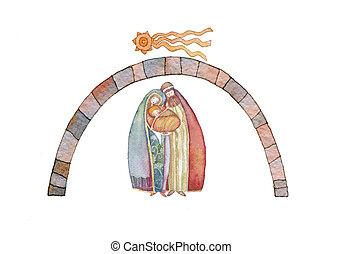 Christmas : Jesus Christ , Joseph, - Christmas nativity...