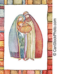 Christmas, Jesus Christ , Joseph, M - Christmas illustration...