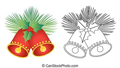 Christmas Jingle Bells - Christmas bells isolated on white -...