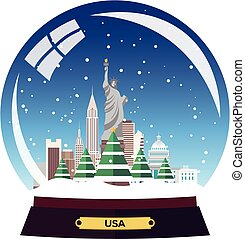 Christmas Journey to USA, New york. Snow globe. Vector flat illustration. Travel