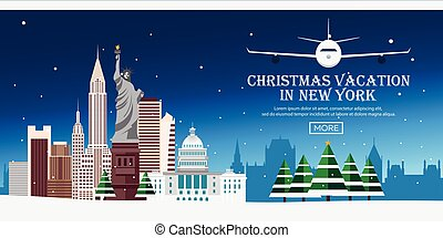 Christmas Journey to USA, New york. Vector flat illustration. Travel