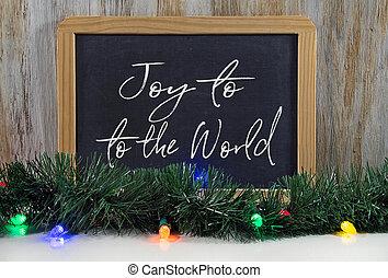 Christmas joy to the world greeting on chalkboard