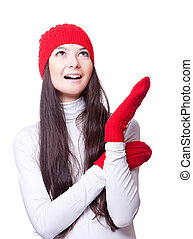Christmas joyful woman in red cap