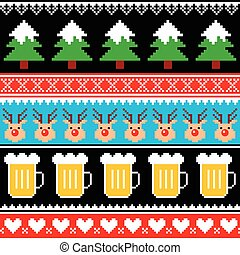 Christmas jumper pattern with beer - Winter, Xmas pattern or...
