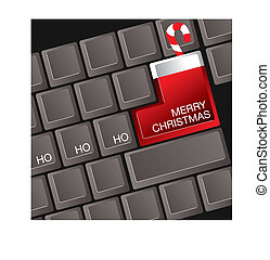 Christmas keyboard - A computer keyboard where the return...