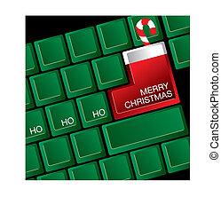 Christmas keyboard - A computer keyboard where the return...