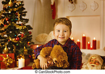 Christmas Kid Boy Portrait With Present Gift Toy
