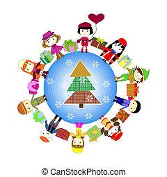 Christmas kids background. Children in planet