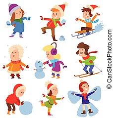 Christmas kids playing winter games. Skating, skiing, ...