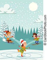 Christmas kids playing winter games skating, skiing, ...