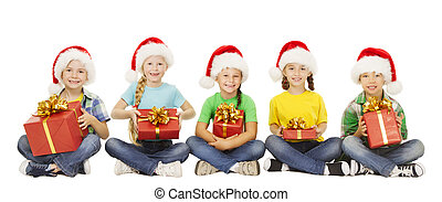 Christmas Kids, Present Gift Box, Santa Red Hat, Children