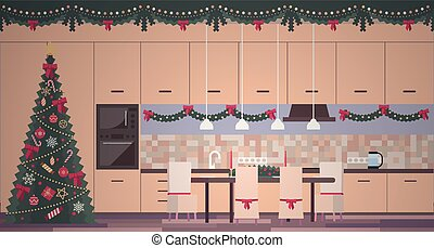 Christmas kitchen interior in a flat vector style