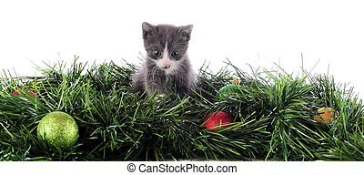 Christmas Kitty Border - A bottom border composed of an...