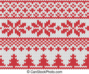 Christmas knitted background - Christmas seamless knitted...