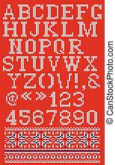 Christmas knitted font in Scandinavian style on background -...