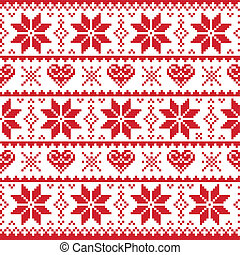 Red winter and Xmas seamless background with penguins- nordic style
